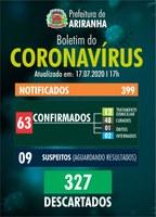 Boletim diário Corona Vírus (COVID-19) – 17/07/2020