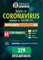 Boletim diário Corona Vírus (COVID-19) – 20/07/2020