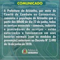 COMUNICADO DA PREFEITURA DE ARIRANHA