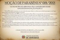 MOÇÃO DE PARABÉNS Nº 018/2021