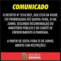 Prefeitura prorroga lockdown em Ariranha